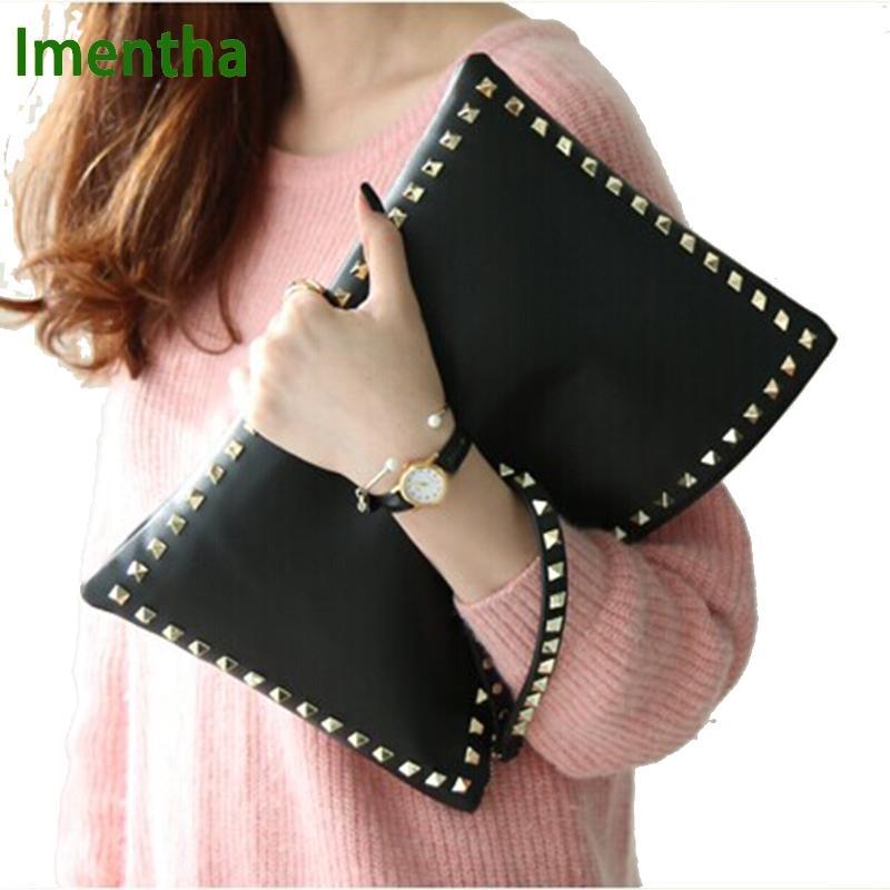 2017 bolso de embrague negro para mujer bolsos y bolsos de embrague de día bolsos de cuero para mujer bolsos de noche remachados con remaches