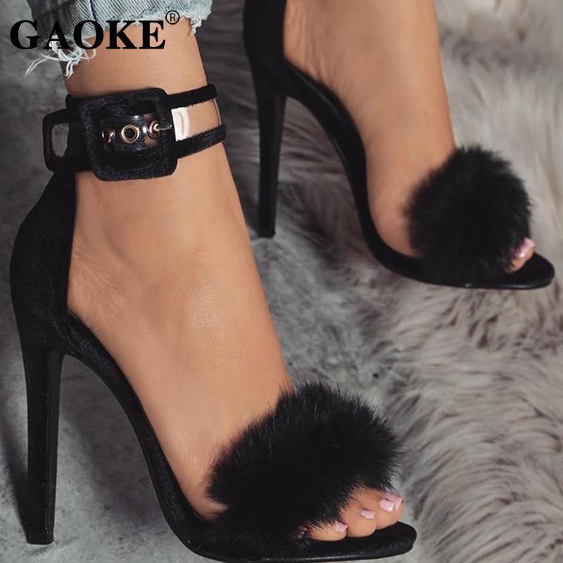 Femme talon haut chaussures d'été Sandales plateforme Feather cheville Bracelet femme Chaussures 2019 Chaussures Sexy mariée mince Party Sandales