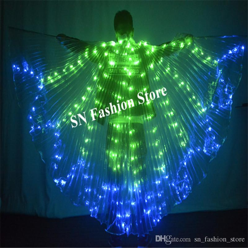 M90 Ballroom dance led light costumes luminous dj cloak Butterfly wings bellydance dress clothe party outfits colorful led wings dresses dj