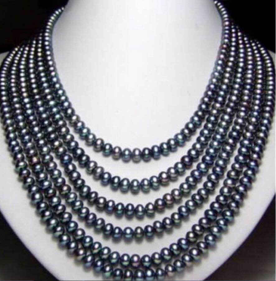 """collar Envío libre ++++ 810 NUEVO largo 130 """"8-9mm Collar de perlas cultivadas naturales negro"""