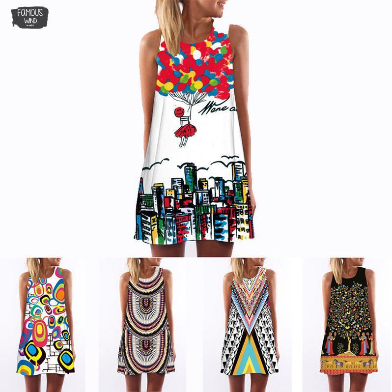 3D 2019 Vintage Yaz Elbise Bohemian Plaj Elbise Yaz Yensiz Kadın Elbiseler Dashiki Hippie Boho Baskı Vestidos Artı Boyutu