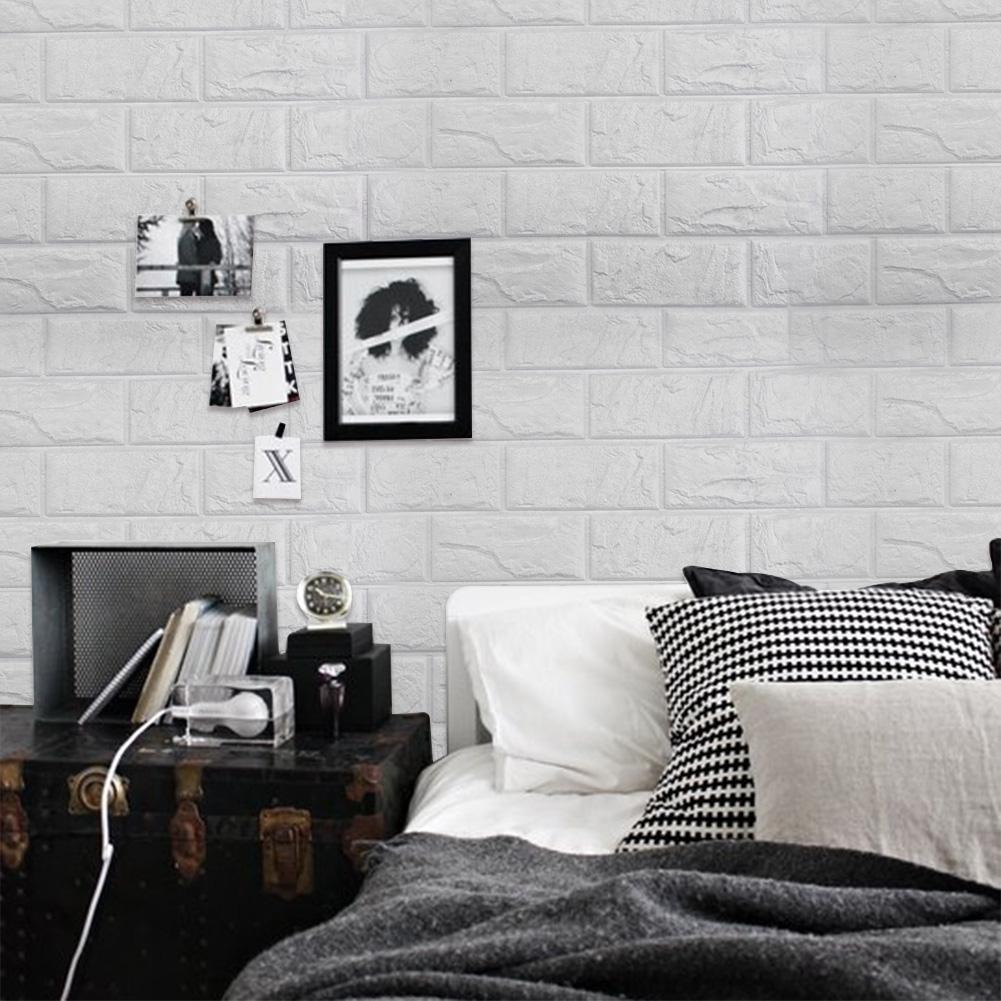 Auto-adesivo 3D Wall Sticker Imitação tijolo de mármore em relevo DIY Decoração Wallpaper Kidroom Cozinha Quarto For Kids