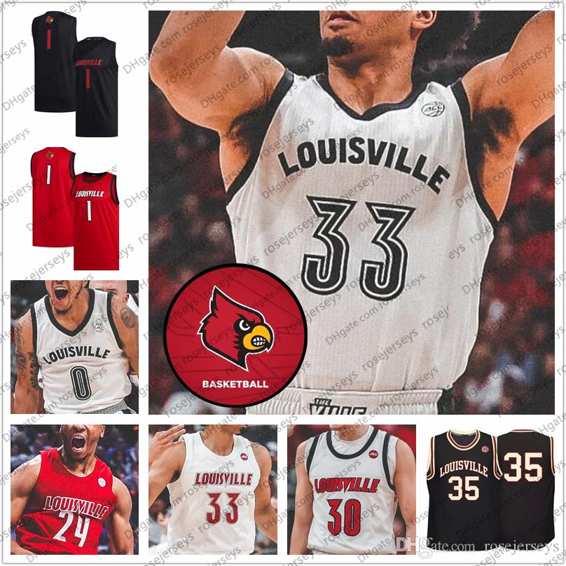 Özel 2020 Louisville Basketbol # 33 Nwora 23 Steven Enoch 24 Dwayne Sutton 30 Ryan McMahon Erkekler Gençlik Siyah Kırmızı Beyaz Retro Jersey 4XL