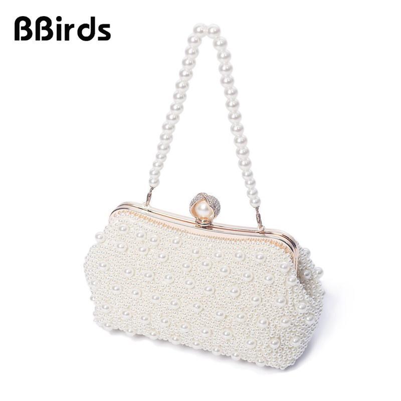 BBirds Women High Quality Luxury Crystal Evening Clutch Bag Elegant Handbag Lady Wedding Purse Party Rhinestones Pearl Wallet