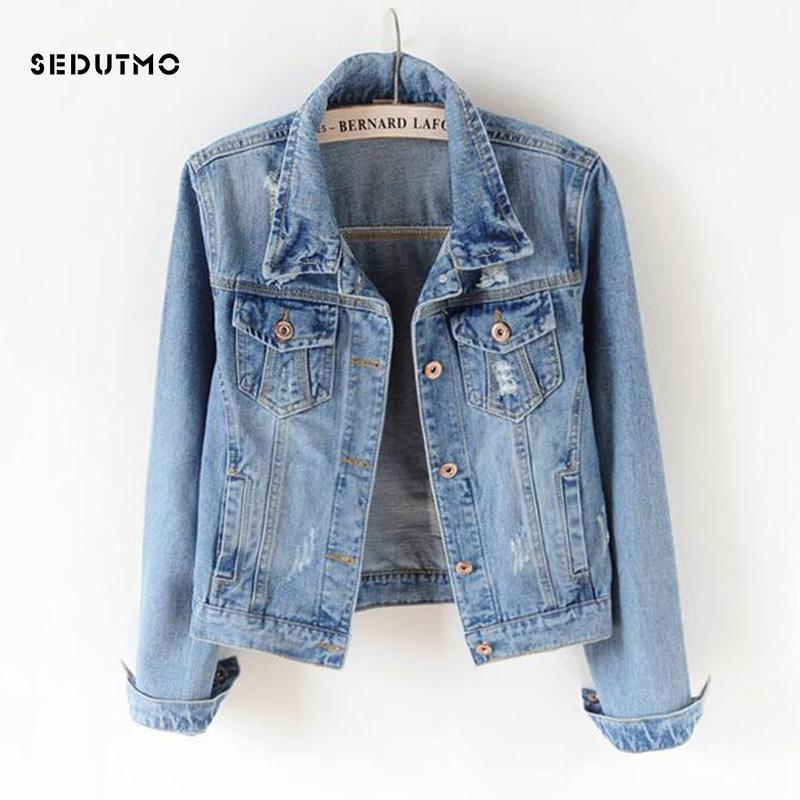 SEDUTMO 2018 Plus Size 5XL Giacca di jeans donne Fidanzato Jean Coat Streetwear Harajuku Vintage autunno base Outerwear T200212