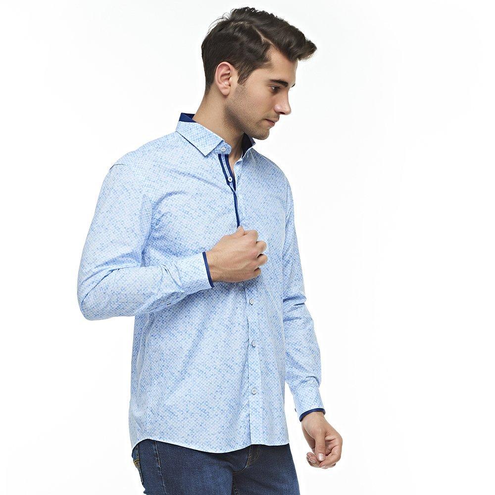 Мужские платья рубашки Узорная синяя рубашка