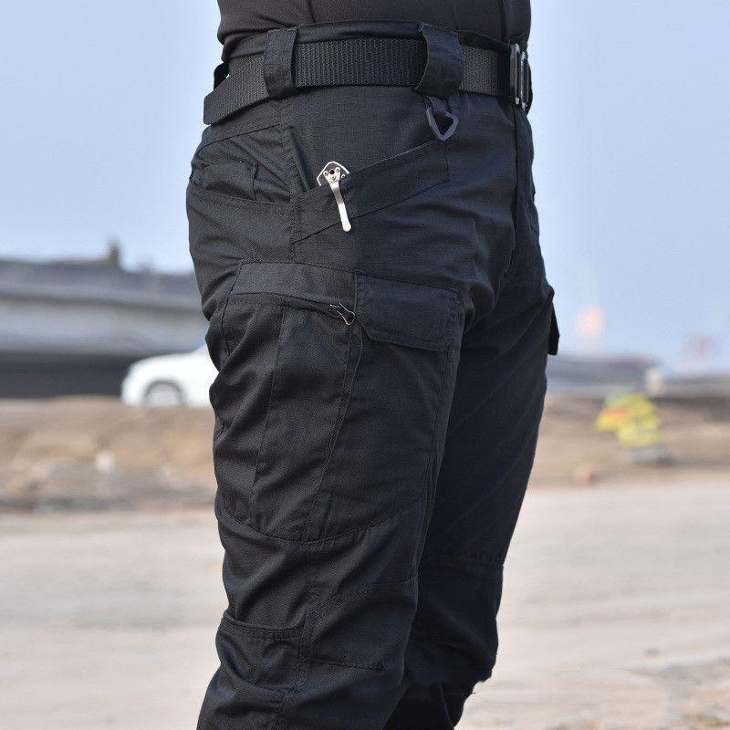 2019 calças táticas de carga militar Pants Men Joelho Pad SWAT Army Airsoft da cor sólida Roupa Hunter Campo de Combate Calças Woodland Y200114