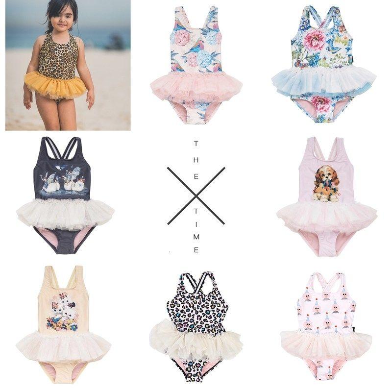 Bebê Cães Gatos 2019 TUTU Swimsuit crianças Um Pieces Swimwear meninas para 80-140cmMX190919
