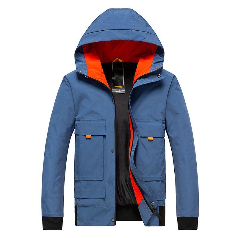 2020 Windbreaker Zipper Outwear Kleidung Herren Jacke Dünne dünne lange Hülsen-Jacken der Männer mit Kapuze casacos De Homem Com Capuz M-4XL
