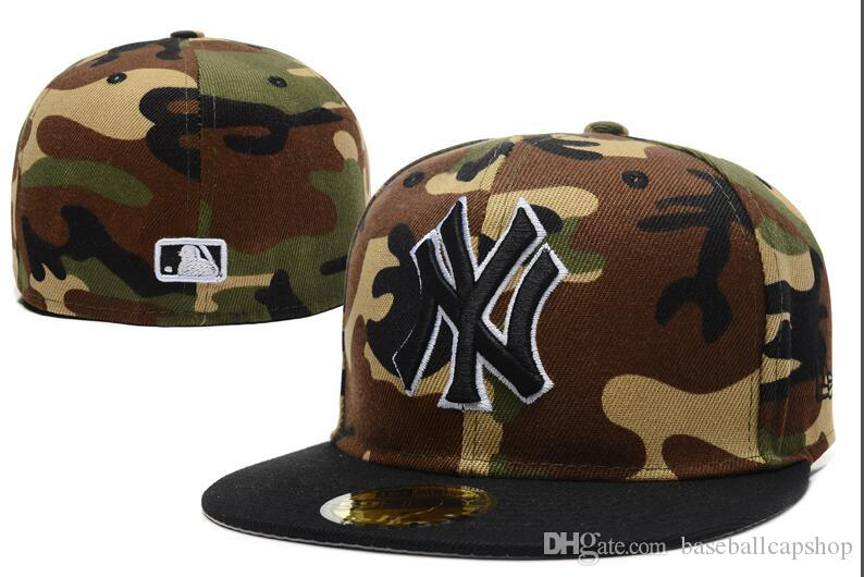 2020 Top Quality Fashion Fan's Popular New York NY Camo Flat Fitted Caps Men's Sport All Team Baseball Full Closed Design Hats Size Bones