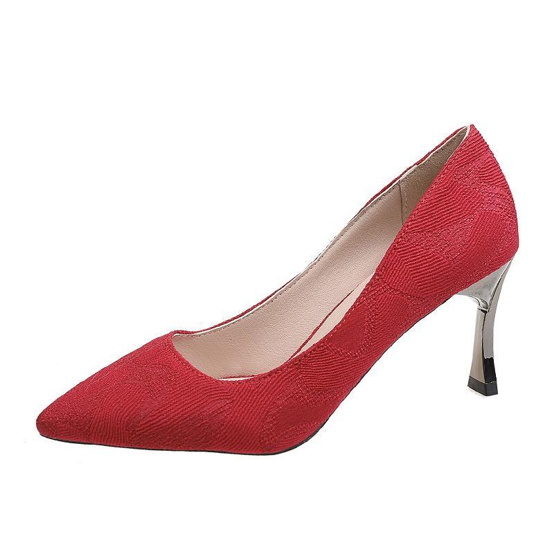 2020 nouveau noir chaussures pour femmes talons hauts de grain noir mode casual mûre classique femmes sexy 7cm rouge B23-02 rose