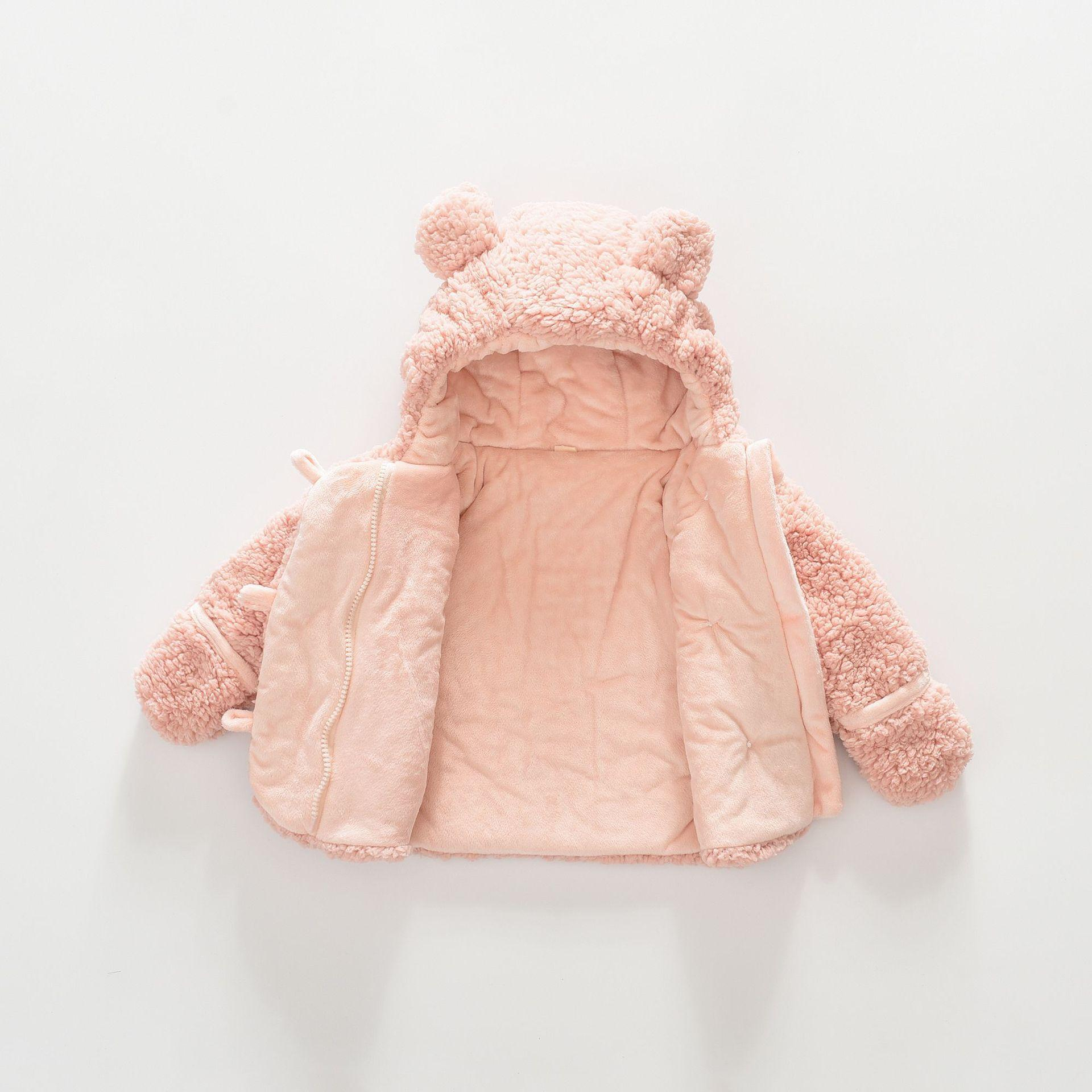 2019 Cute Infant Baby Girls Boys Wool Coats Warm Outfits Solid Ears Hooded Autumn Winter Clothes 2 Colors