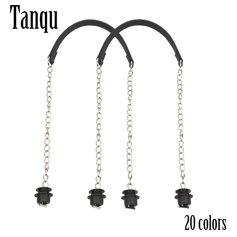 Yeni tanqu 1 çift gümüş uzun kalın tek zincir ot metal toka ile obag o çanta için siyah vidalar kadınlar için çanta çanta çanta
