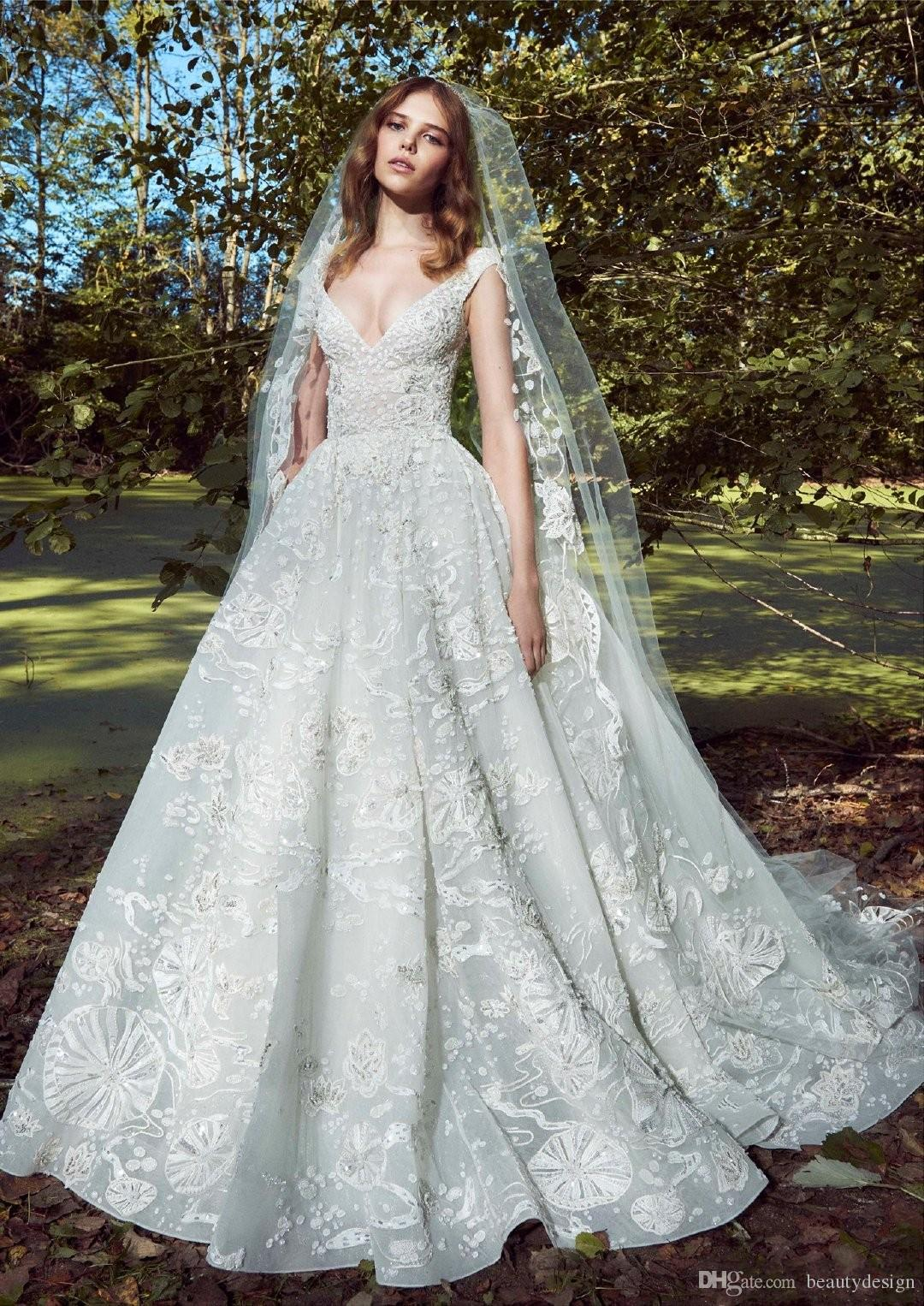 luxury elie saab 2020 lace ball gown wedding dresses appliques deep v neck  bridal dress chapel plus size full lace wedding gowns royal wedding dress