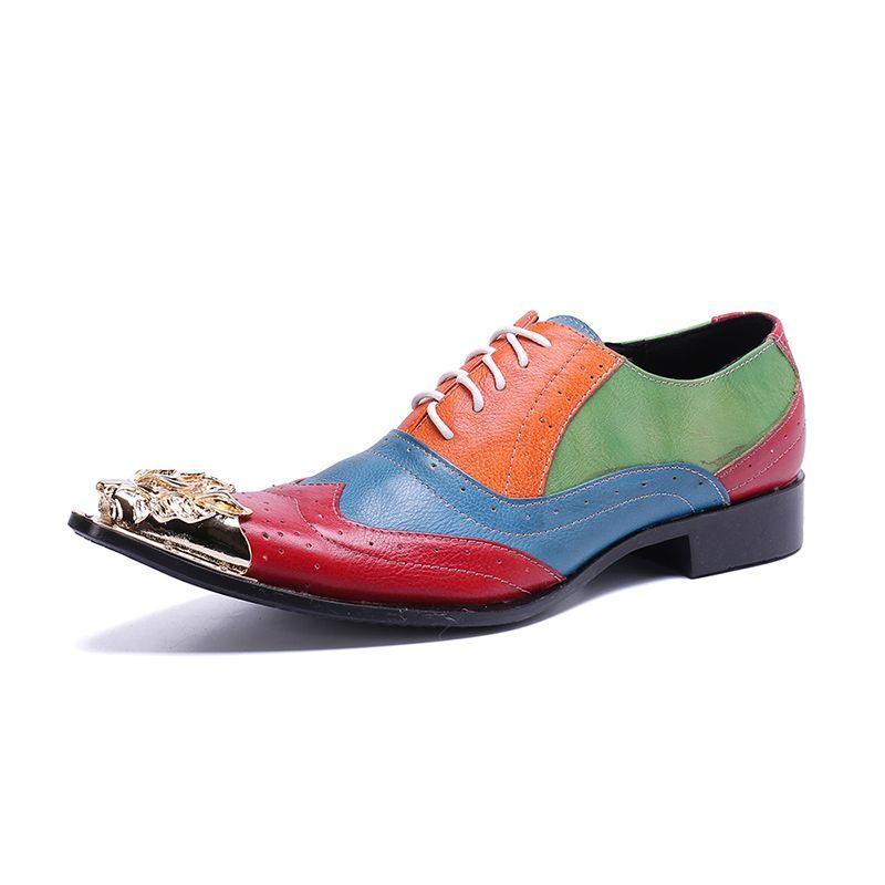Hot Sale-Men Oxfords Shoes Wedding Party Brogue Shoes Men Dress Genuine Leather Formal Skin High Heel Skin