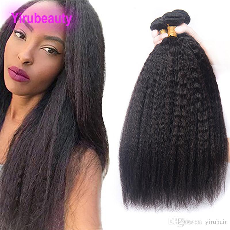 Brazilian Peruvian Indian Malaysian Kinky Straight 3 Bundles Yaki Straight Bundles 8-28 Inch Human Hair Extensions Double Wefts