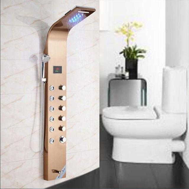 Torneira Do Banheiro escovado LED Painel de Chuveiro Coluna de Chuveiro Banheira Torneira Misturadora Com Tela de Temperatura do Chuveiro de Mão
