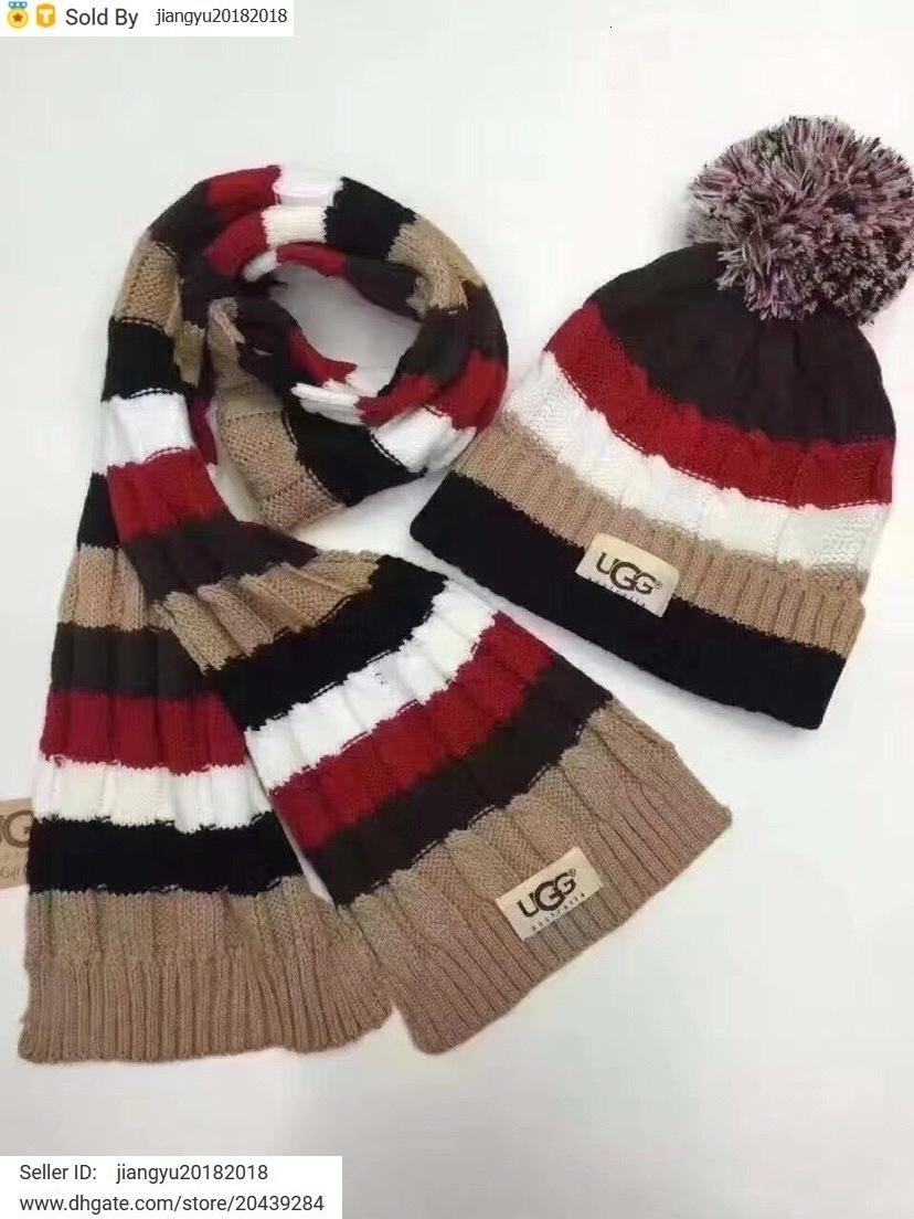 Christmas Gift New Quality Woolen Scarf Hat Men Cashmere wool Fox hair ball hat 2pc 538561 3HE25 1080 002 With Box