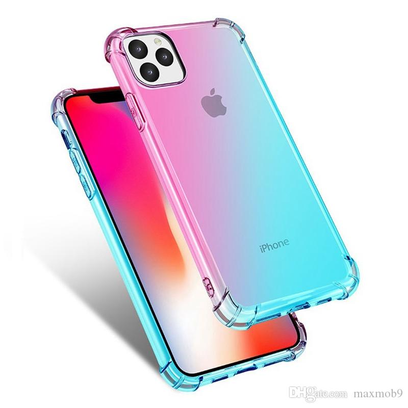 Gradient colorful air case For Iphone 11 pro max 6 7 8 plus xs max xr tpu ultra thin case cover for Samsung Note 8 9 10 S8 S9 S10 plus