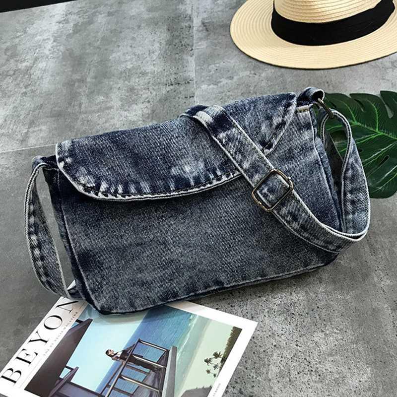 Урожай сумочки Crossbody Коммуникатор кошелек сумка плечо Мода Женщина Простая Джинсовые сумки Feminina