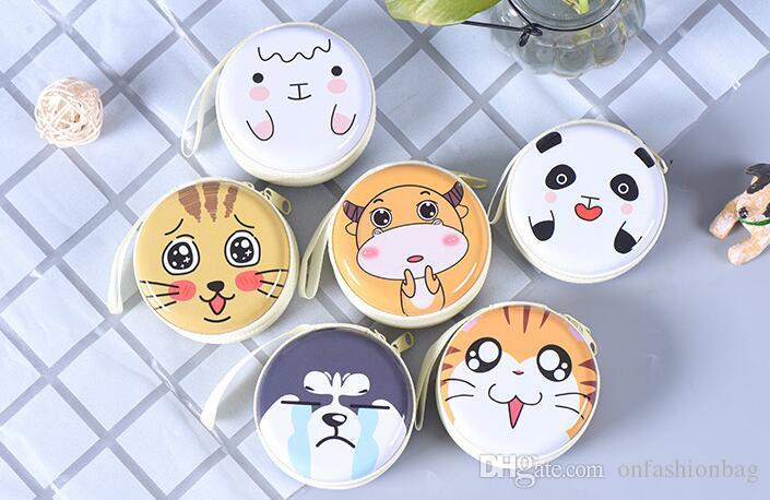 Creative cartoon expression coin bag round bag gift tinplate storage bag data cable charger coin purse