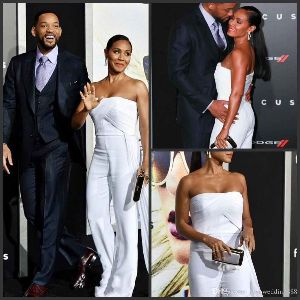 Celebrity Red Carpet Jumpsuit Evening Dresses Ruched Strapless Zipper Sexy Back Prom Pant Suit Party Gowns