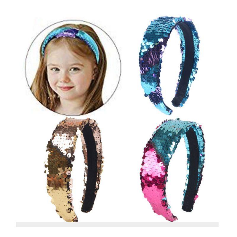 Nuove fasce per pesci in scala a forma di pesce Fascia per capelli con paillettes reversibili a doppia faccia Gioielli per capelli Regali per feste per ragazze Donne 8 colori