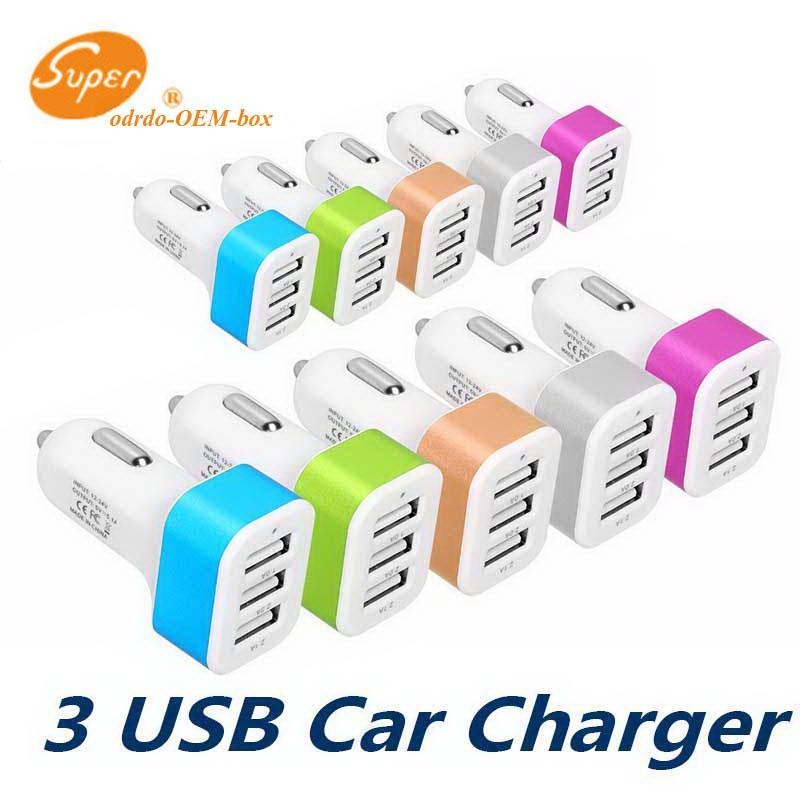 Para el teléfono móvil del cargador del coche Traver adaptador de coche Enchufe vendedor caliente de la Triple 3 puertos USB cargador de coche 100pcs DHL sin paquete