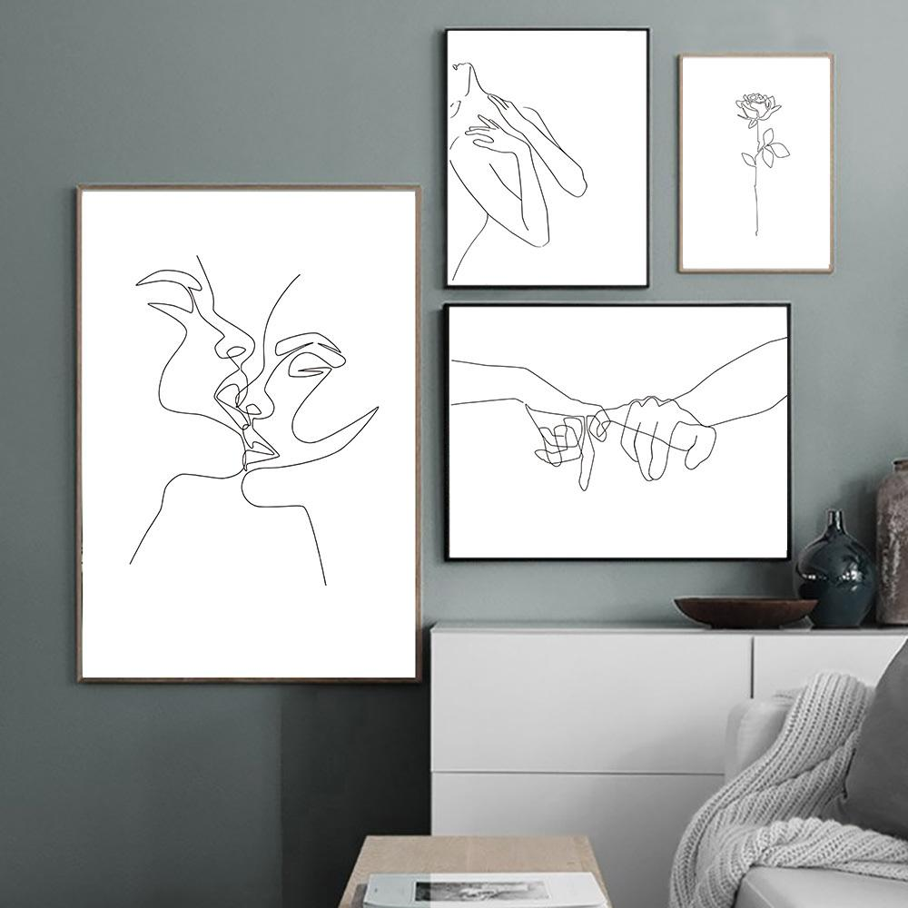 2020 Abstract Line Drawing Wall Art Poster Hand Kiss Canvas Painting Couples Poster Lady Body Picture Minimalist Art Print Home Decor From Goodcomfortable 4 41 Dhgate Com