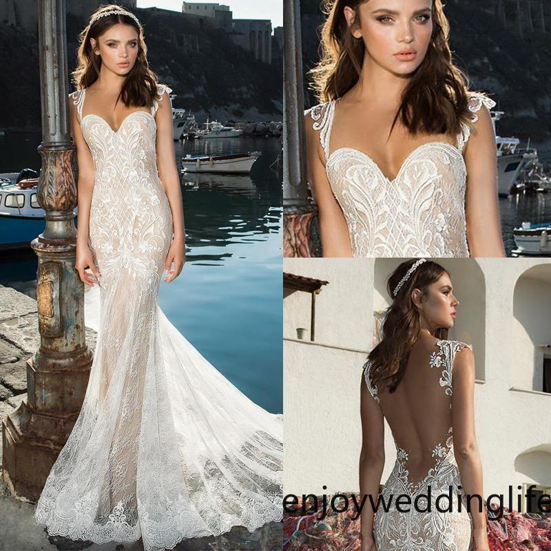 Sirena de la boda del boda de playa de correas espaguetis encaje apliques de la vendimia vestidos de novia de la boda Vestidos de Fiesta formal