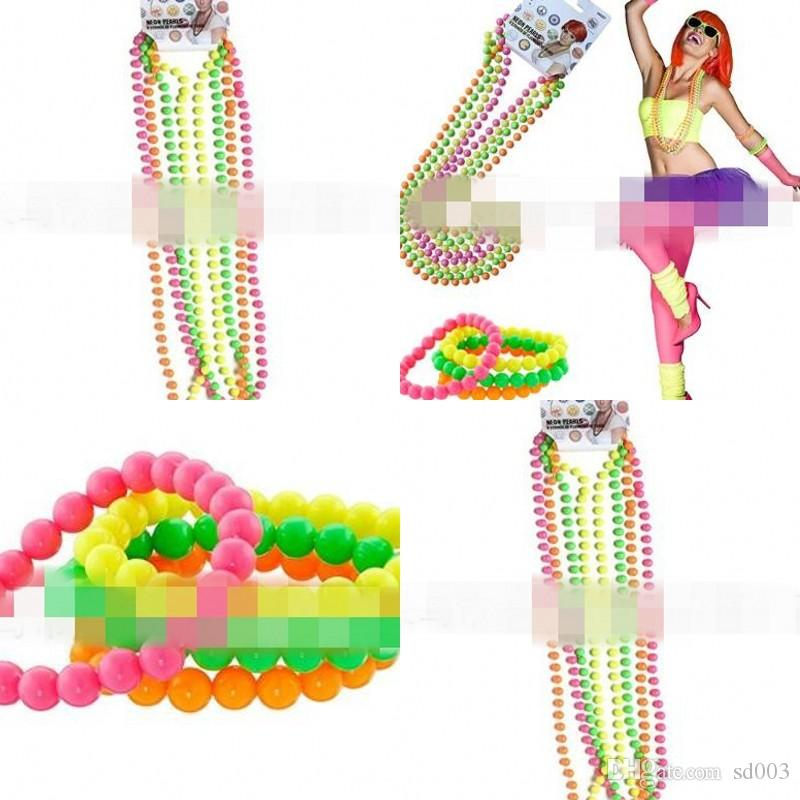 Colorful Beads Chain Dancing Party Decoration Neon Bead Necklace Real Color Connected Plastic Bracelet 3 2ap L1