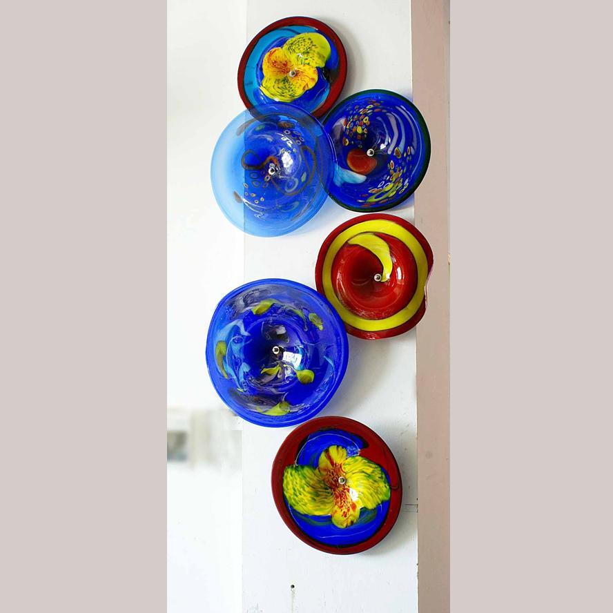 Duvar Dekorasyon Güzel Murano Cam Duvar Sanatı Lambası Otel Odası için Cam Sanatı Duvar Tabaklar Üflemeli