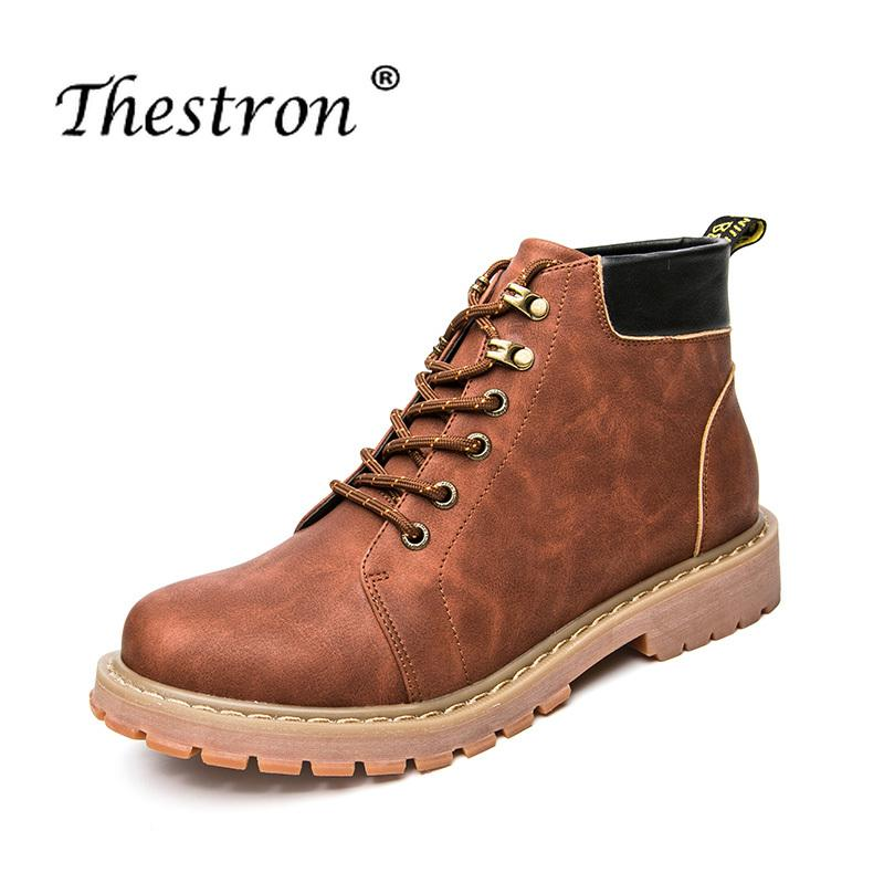 Working Safety Boots Red wine Mens Boots High Top Mens Autumn Footwear Casual Men Shoes Top Quality Cow Leather