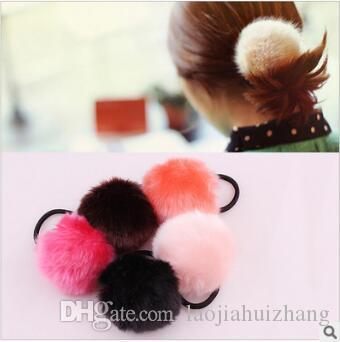 Korea 240pcs/lot Cute Fluffy Ball Hair Bands Multi Soft Rabbit Fur Hair Ring Hair Accessories & Tools HA254