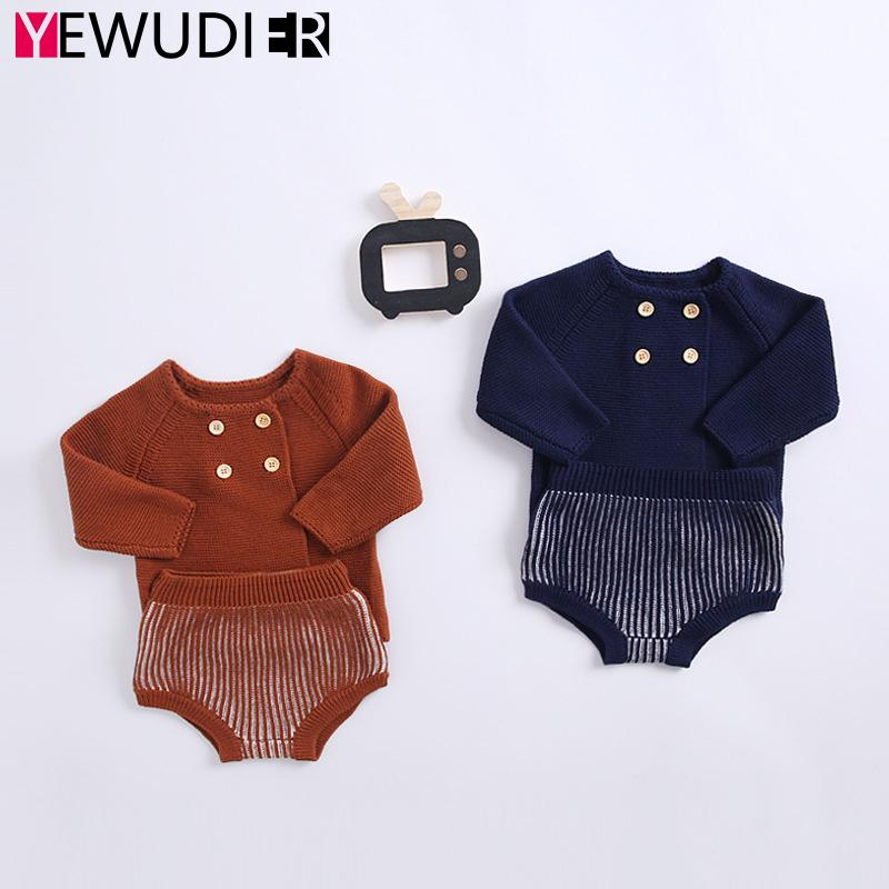 Baby Boy Girl Sweater Set Spring Autumn Long Sleeve Knitted Tops Newborn Short Bloomer Pants Infant Unisex Wool Knitting Outfits