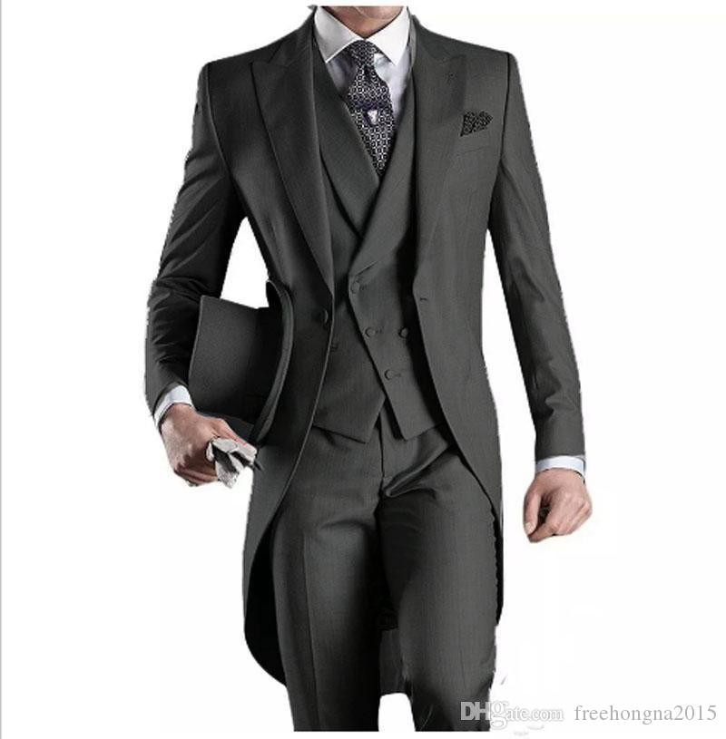 Custom White/Black/Grey/Light Grey/Purple/Burgundy/Blue Tailcoat Men Party Groomsmen Suits in Wedding Tuxedos(Jacket+Pants+Vest)