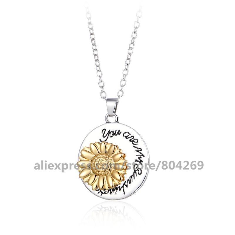 Anhänger Halsketten Persönlichkeit Drehen Floral Halskette Frauen Kleid Schmuck Sunflower Designs Mode