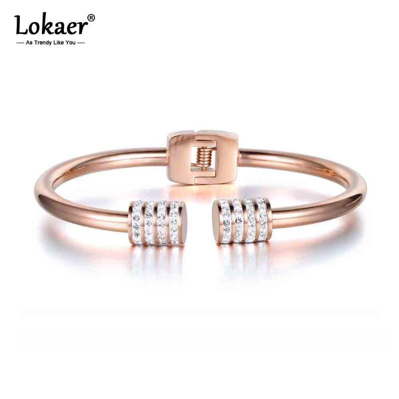 Lokaer New Design Mosaic Rhinestone Cuff Bangles & Bracelets Jewelry Rose Gold Stainless Steel Wedding Bangles For Women B17053