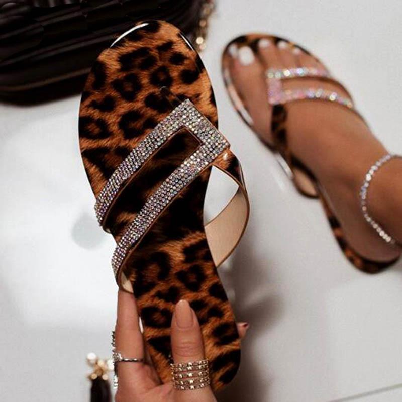 Estate Infradito donna di cristallo brillante Pantofole Leopard piatto sandali pistoni della spiaggia Donne 2020 Zapatos De Mujer Big Size 34-43