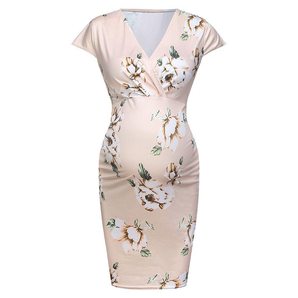 Femmes robes de maternité été rose imprimé floral sexy tenue décontractée robe d'allaitement grossesse vêtements Zwanger Jurk 19apr2