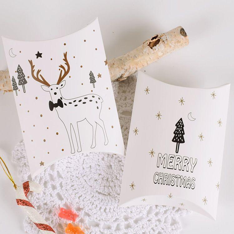 2020 년 크리스마스 화이트 간단한 바람 캔디 쿠키 선물 베개 모양 접는 상자 곰 엘크 3 나무 메리 크리스마스 패턴 14X10X2.8cm