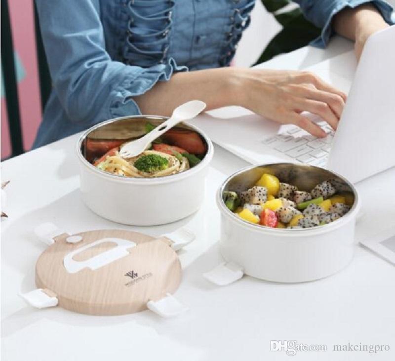 Boîte à lunch ronde en acier inoxydable poignée boisée double couche boîte de maintien de frais avec boîte à lunch d'isolation étanche couverts