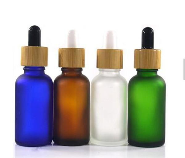 대나무 뚜껑 서리 낀 무광택 검정 투명 녹색 30ml 젖빛 유리 dropper 병 블루 앰버 필수 향수 전자 액체 병
