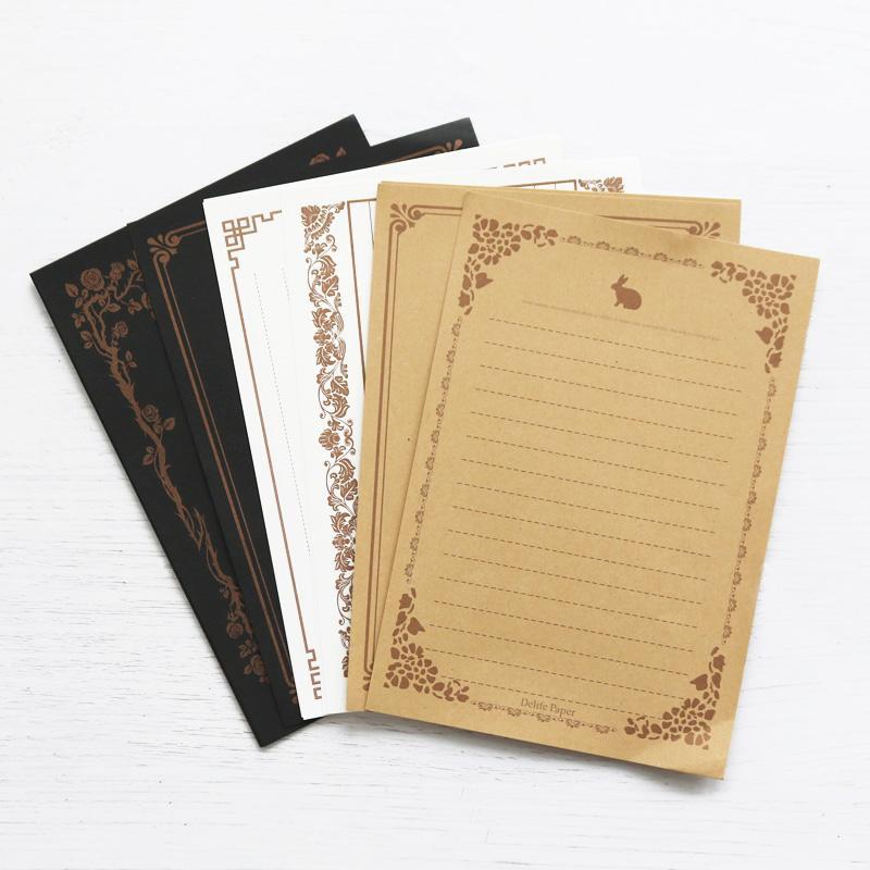 24X Retro Briefpapier Kraft Weiß Schwarz Schreiben Brief Pad Notizpapier Karten Geburtstags-Gruß-8 Muster mischen Partei-Dekoration