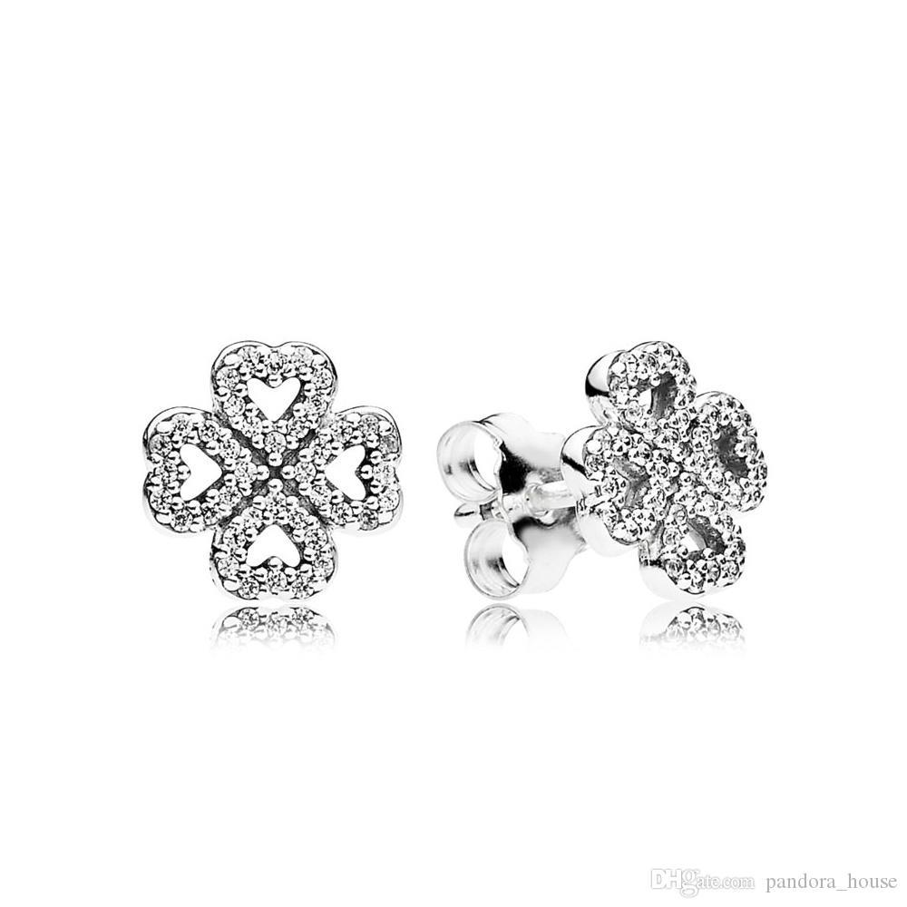 Nueva auténtico real de plata de ley 925 trébol pendientes de la flor de Pandora 290626CZ bricolaje Jewelrynew