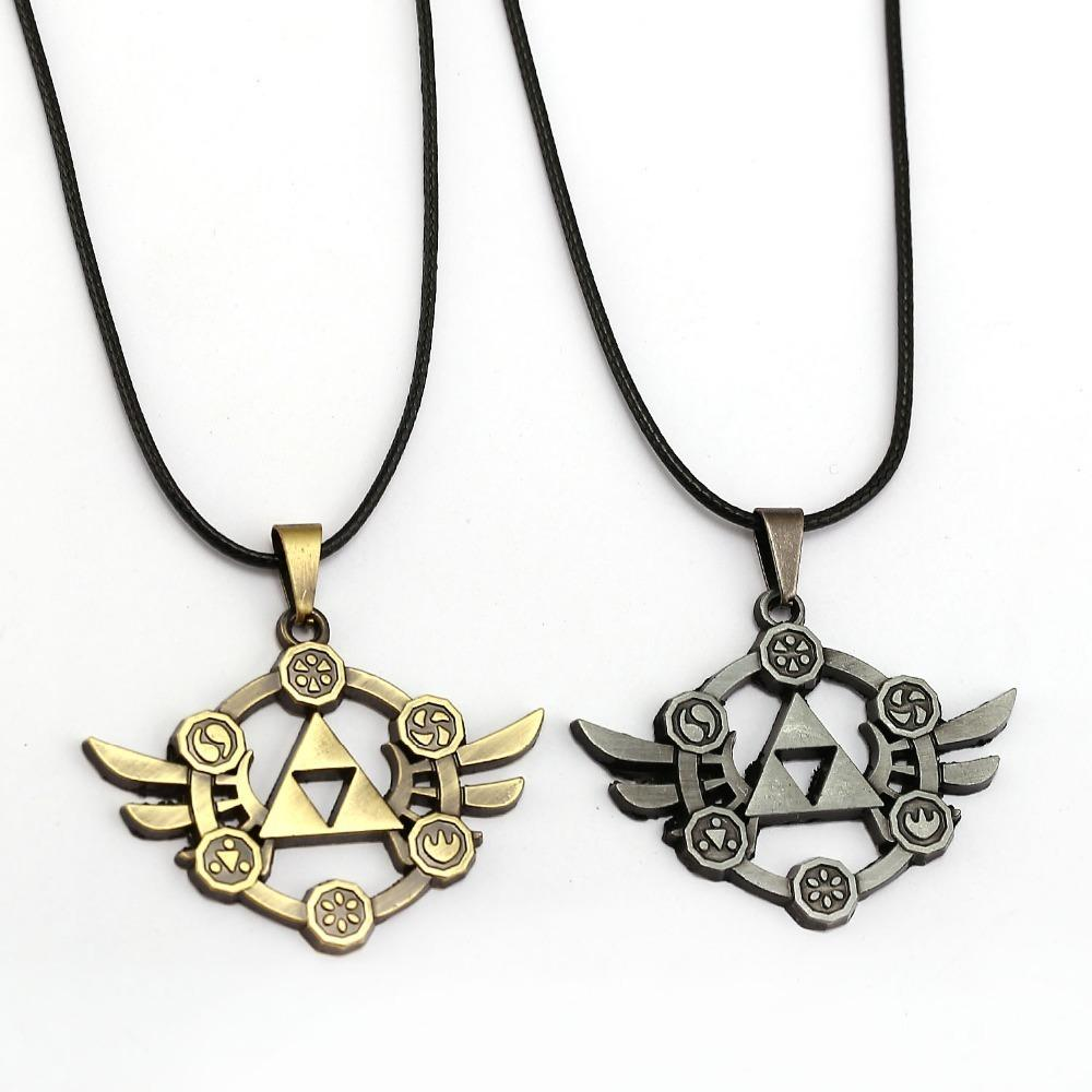 10pcs The Legend Of Zelda Necklace Power Triforce Pendant Fashion Rope Chain Necklaces Women Men Charm Gifts Game Jewelry C19041203