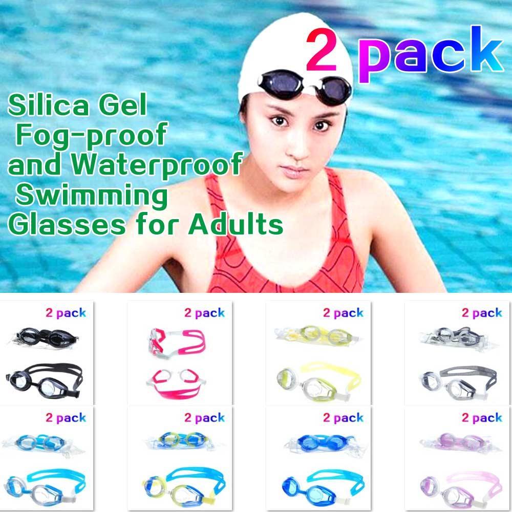 (A339X) الكبار السباحة نظارات السباحة نظارات واقية للماء المضادة للضباب الأشعة فوق البنفسجية 2 حزم