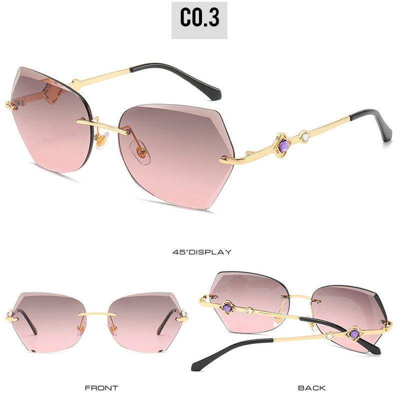 Обрезной очки без оправы FZKTNY Новые Rimless стрижкой Солнцезащитные очки Женщины Brand Дизайнер Золотой металлический каркас Beautiful морских линз 1Vg3r
