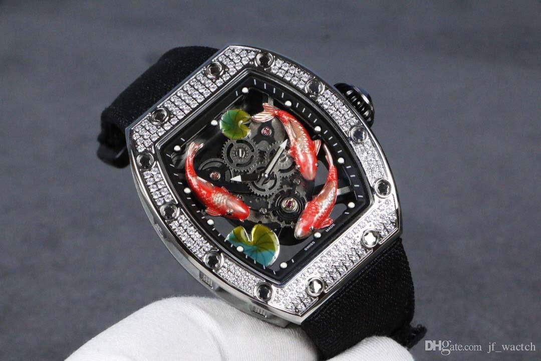 남성 두개골 명품 시계 두개골 남성 다이얼 기계적 움직임 패션 캐주얼 평방 중국 스테인레스 스틸 기계식 시계 프로 다이버 베젤