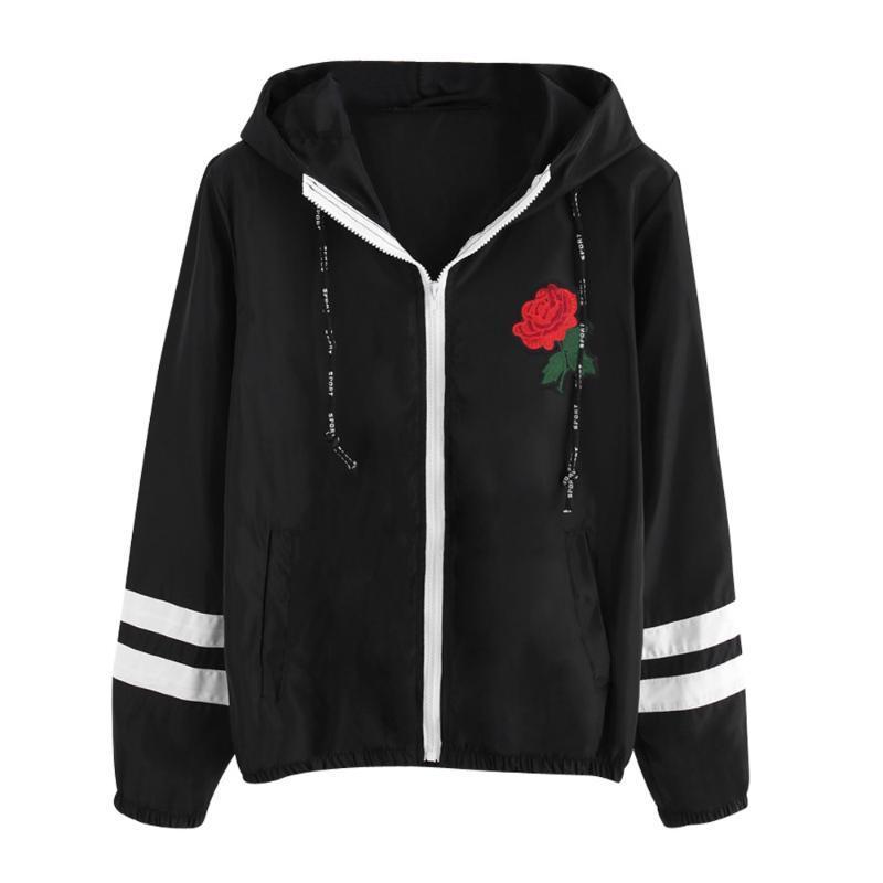Женщины Роза Вышитые Ветровка с длинным рукавом Тонкий Шинель Цветочные Zipper Hooded Coat Легкий Бомбардировщик Basic Куртки # T1G
